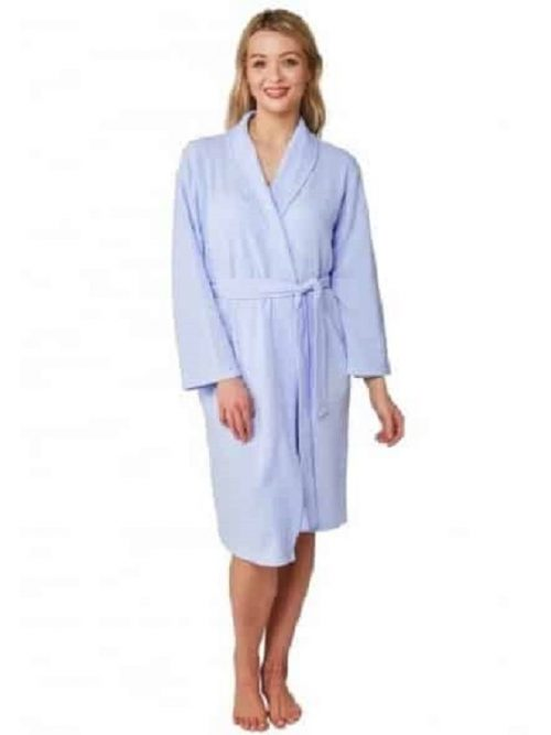 Dressing Gown Indigo Sky Waffle Print