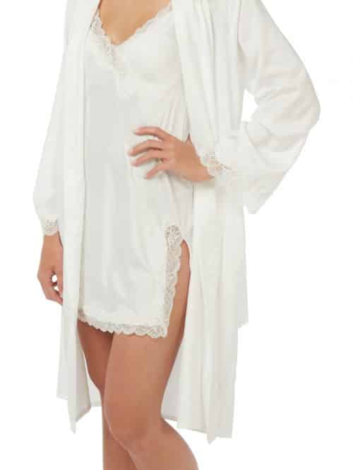 Satin Lace Nightwear Set Indigo Sky Ivory