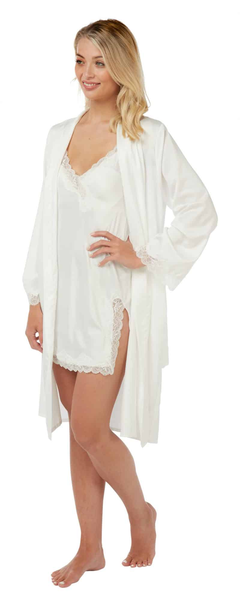 Satin Lace Nightwear Set Indigo Sky Ivory