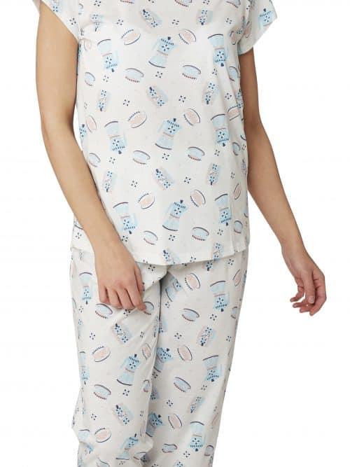 Teapot Print 3/4 Pyjamas Indigo Sky In23057