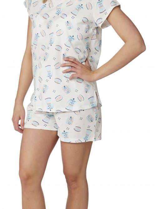 Teapot Print Shortie Pyjama Set Indigo Sky In23058