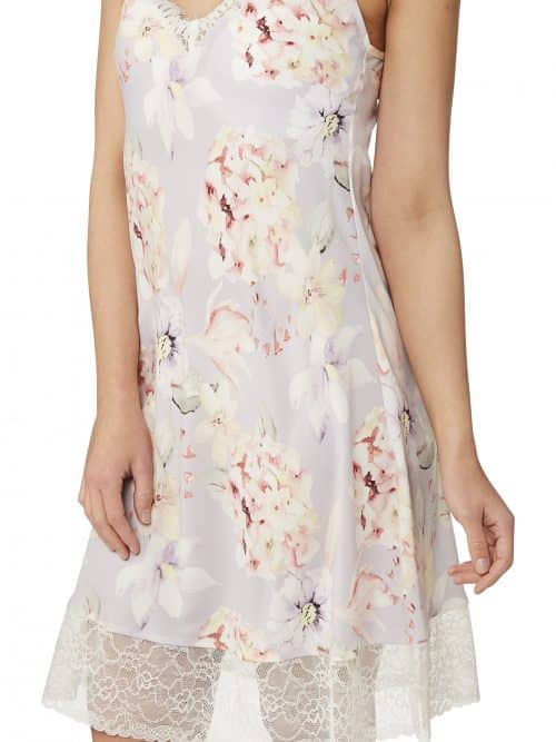 Floral Satin Nightdress Indigo Sky In23059