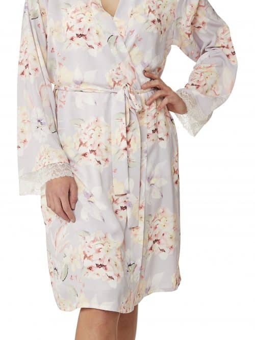 Floral Satin Dressing Gown Indigo Sky In23061