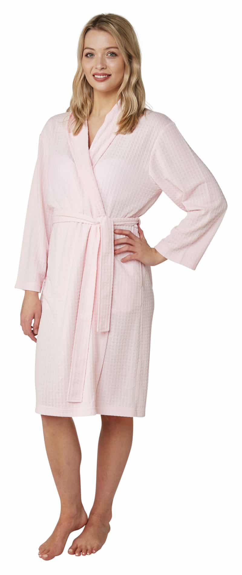Waffle Print Dressing Gown Indigo Sky In23065