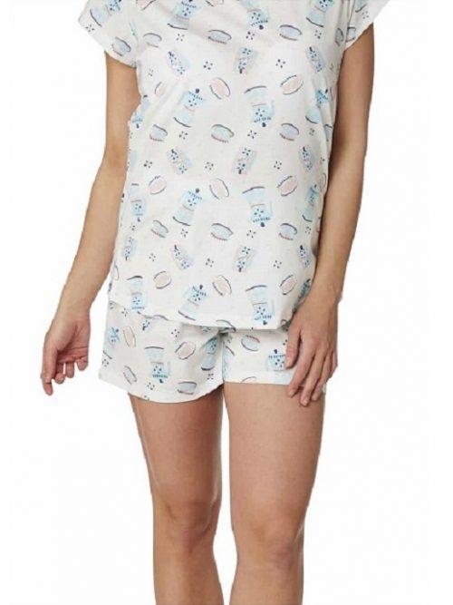 Pyjama Shorts Set Teapot Print