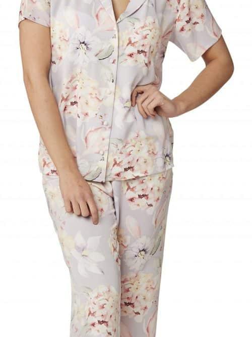 Floral Satin Pyjamas Indigo Sky In23060