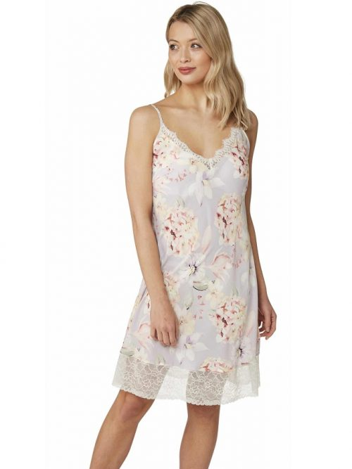 Satin Nightdress Floral Indigo Sky