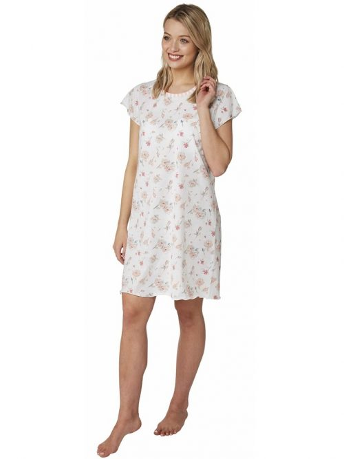 Short Nightdress Rose print Indigo Sky