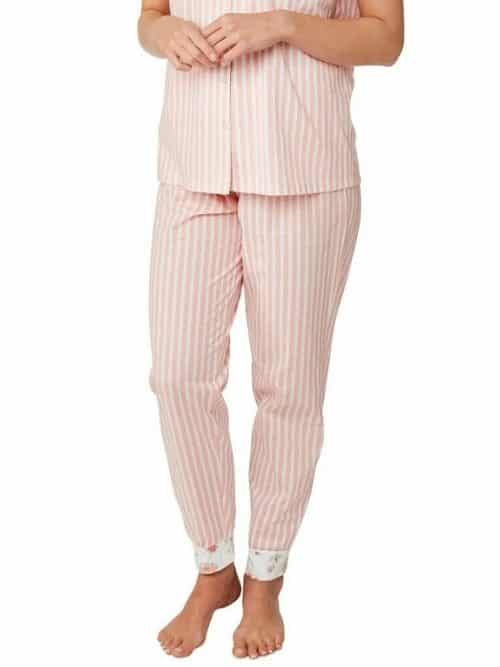 Pink Pyjama Floral Stripe Indigo Sky