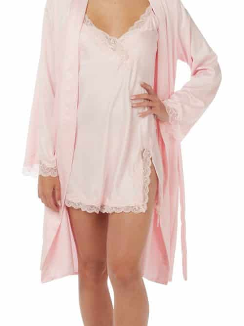 Satin Lace Nightdress and Dressing Gown Set Indigo Sky In19692