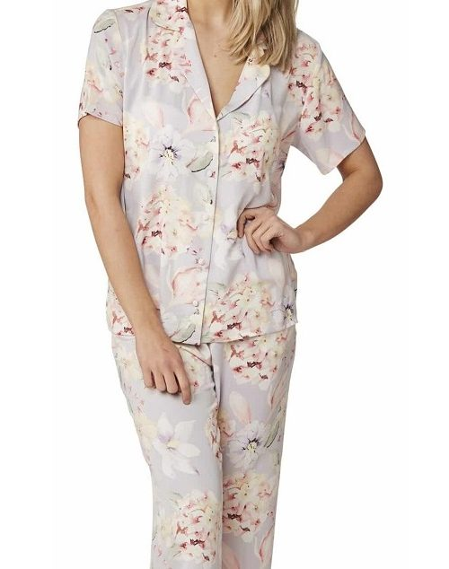 Satin Pyjamas Floral Indigo Sky