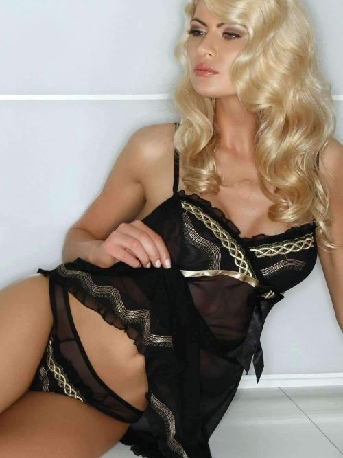 Black Lace Chemise Set Gracya