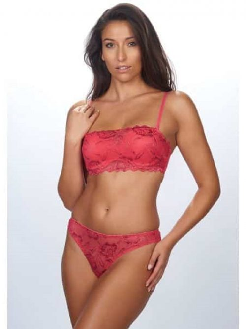 After Eden Deep Coral Lace Thong