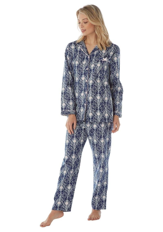 Satin Pyjamas Peacock Print Indigo Sky