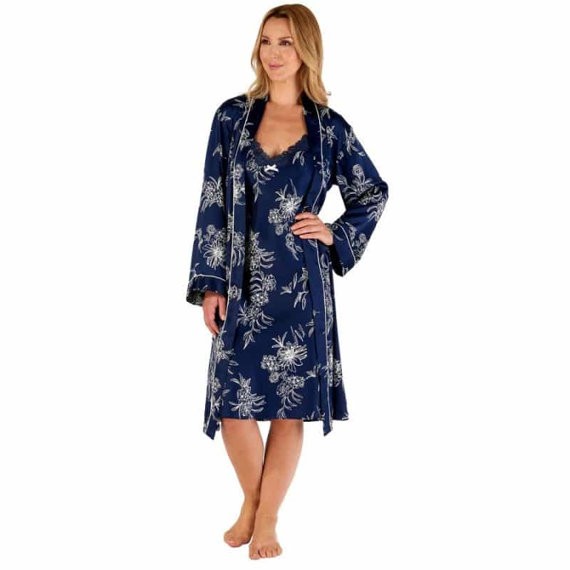Satin Dressing Gown Navy Floral Gaspe