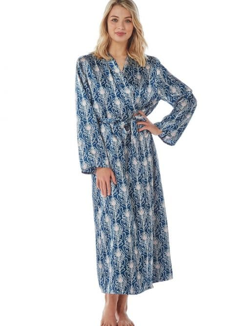 Satin Dressing Gown Peacock Print