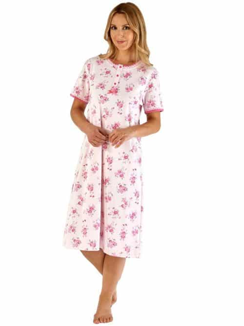100% Floral short sleeve Cotton Nightdress Slenderella