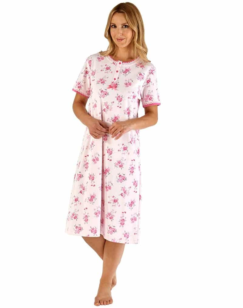 100% Floral short sleeve Cotton Nightdress Slenderella