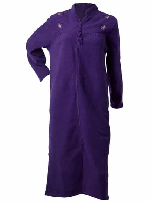 Purple Fleece Zip down Robe Waites