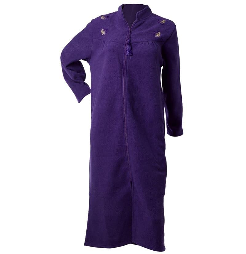 Purple Fleece Zip down Robe Waites