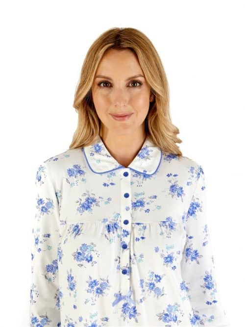100% Cotton Floral Long sleeved Collar Nightdress Slenderella