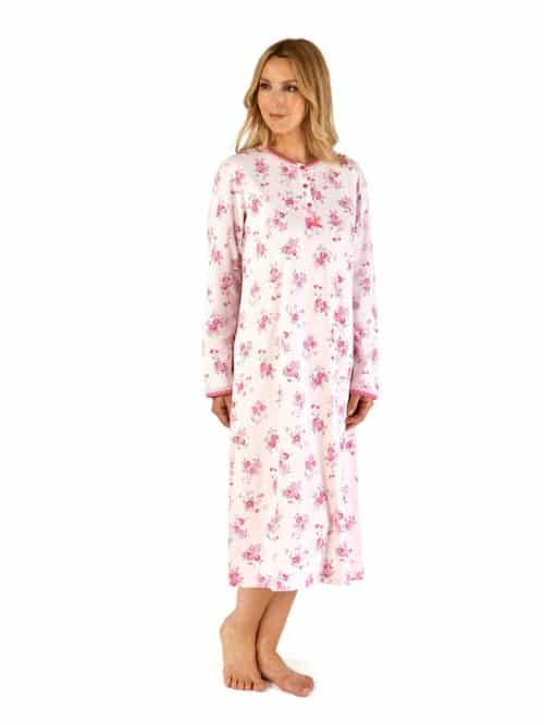 100% Cotton Floral Long sleeved Nightdress Slenderella
