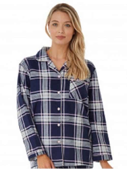 Cotton Check Pyjamas Navy Indigo Sky