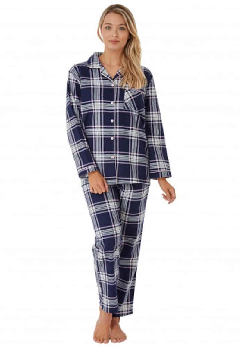 Cotton Check Pyjamas Navy Indigo Sky