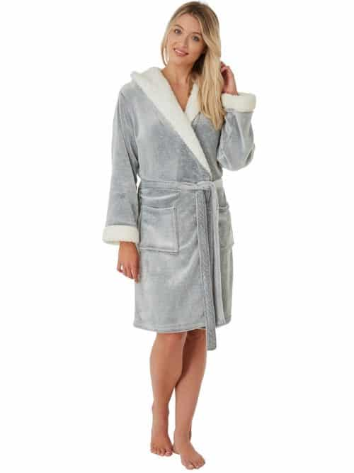 Grey Fleece Dressing Gown Indigo Sky