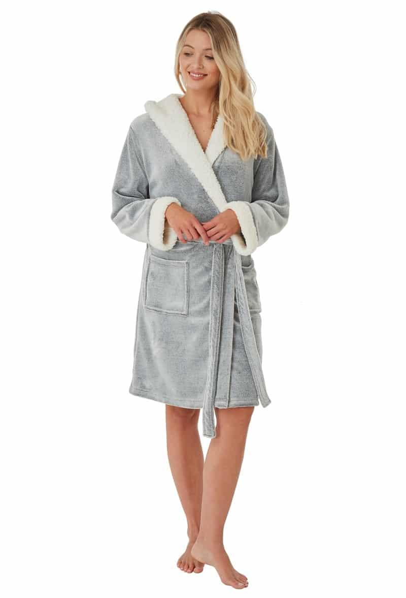 Grey Fleece Dressing Gown Indigo Sky