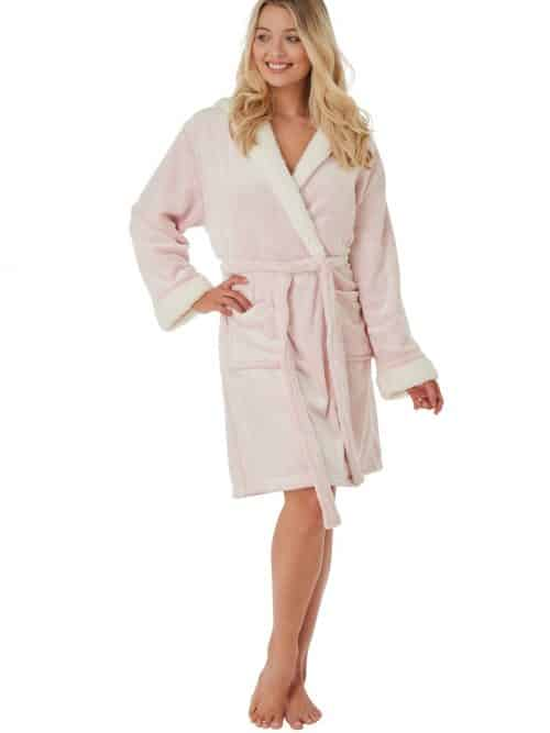 Pink Fleece Dressing Gown Indigo Sky