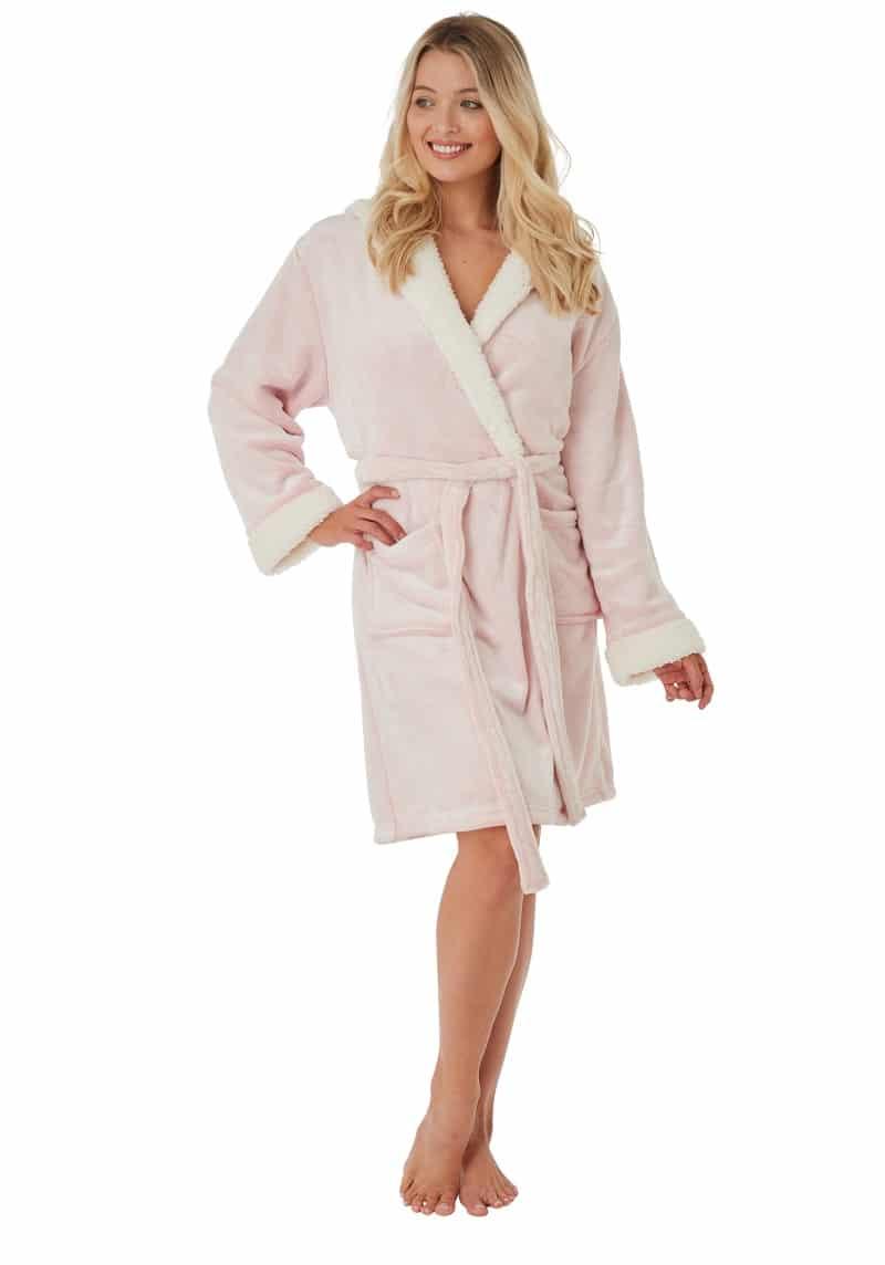 Pink Fleece Dressing Gown Indigo Sky
