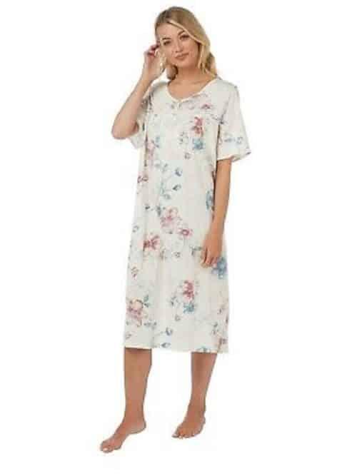 Cotton White Floral Night Dress