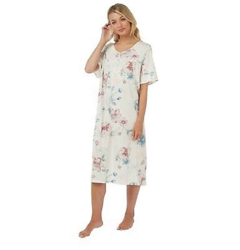 Cotton White Floral Night Dress
