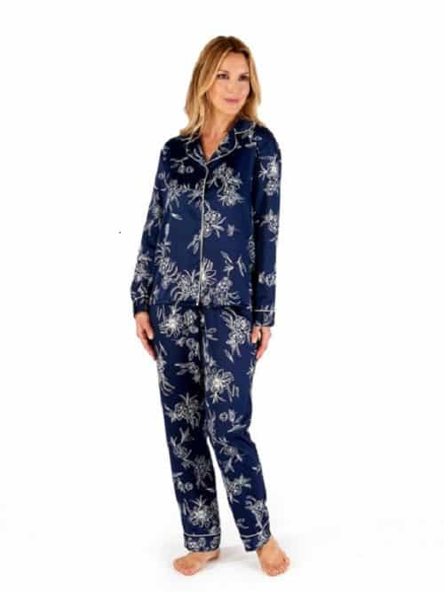 Satin Long Sleeve Pyjama Navy Gaspe