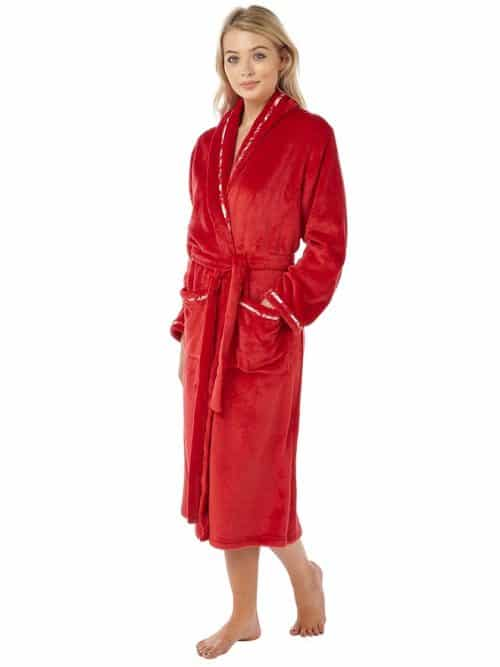 Red Fleece Dressing Gown Indigo Sky