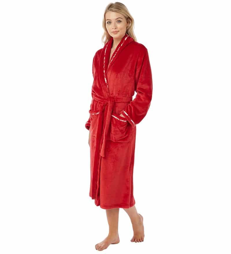 Red Fleece Dressing Gown Indigo Sky