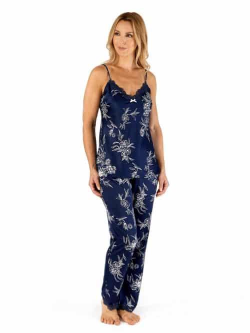 Satin Strappy Pyjama Navy Floral Gaspe