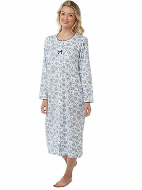 100% Cotton Long Sleeve Nightdress Floral Print Marlon