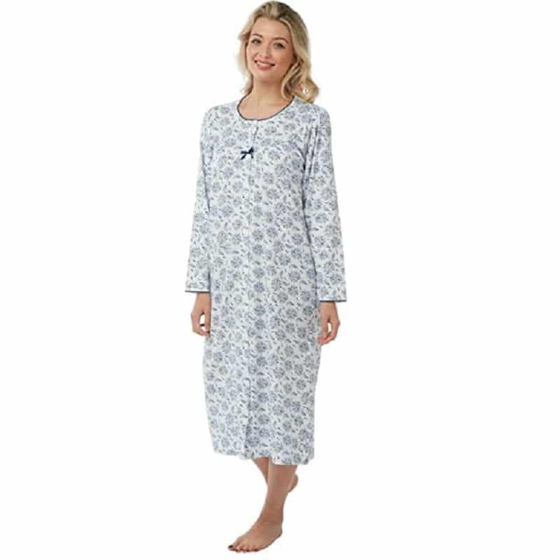 100% Cotton Long Sleeve Nightdress Floral Print Marlon