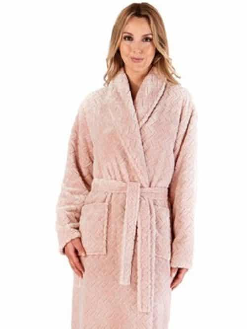 Luxury Chevron Fleece Wrap Dressing Gown Slenderella Grey