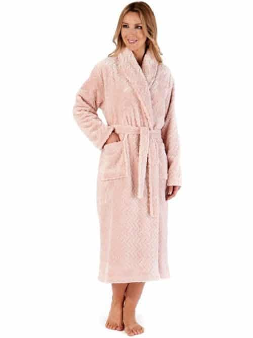 Luxury Chevron Fleece Wrap Dressing Gown Slenderella Grey