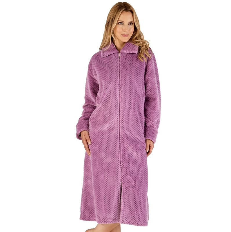 Luxury Zip Up Dressing Gown Slenderella Raspberry