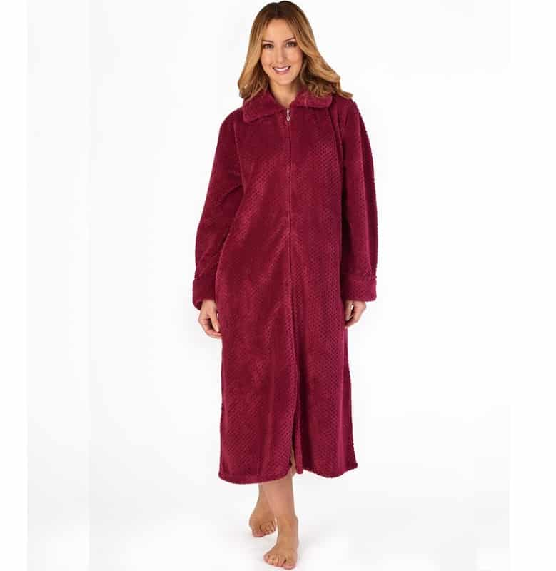 Luxury Zip Up Dressing Gown Slenderella Raspberry