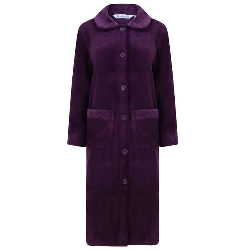 Luxury Plum Dressing Gown Button Down Slenderella