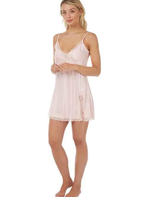 Satin Lace Nightwear Set Indigo Sky Pink