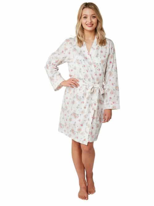 Short Wrap Dressing Gown Rose print