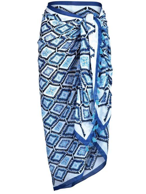 Blue tassle Swim Kaftan Anita