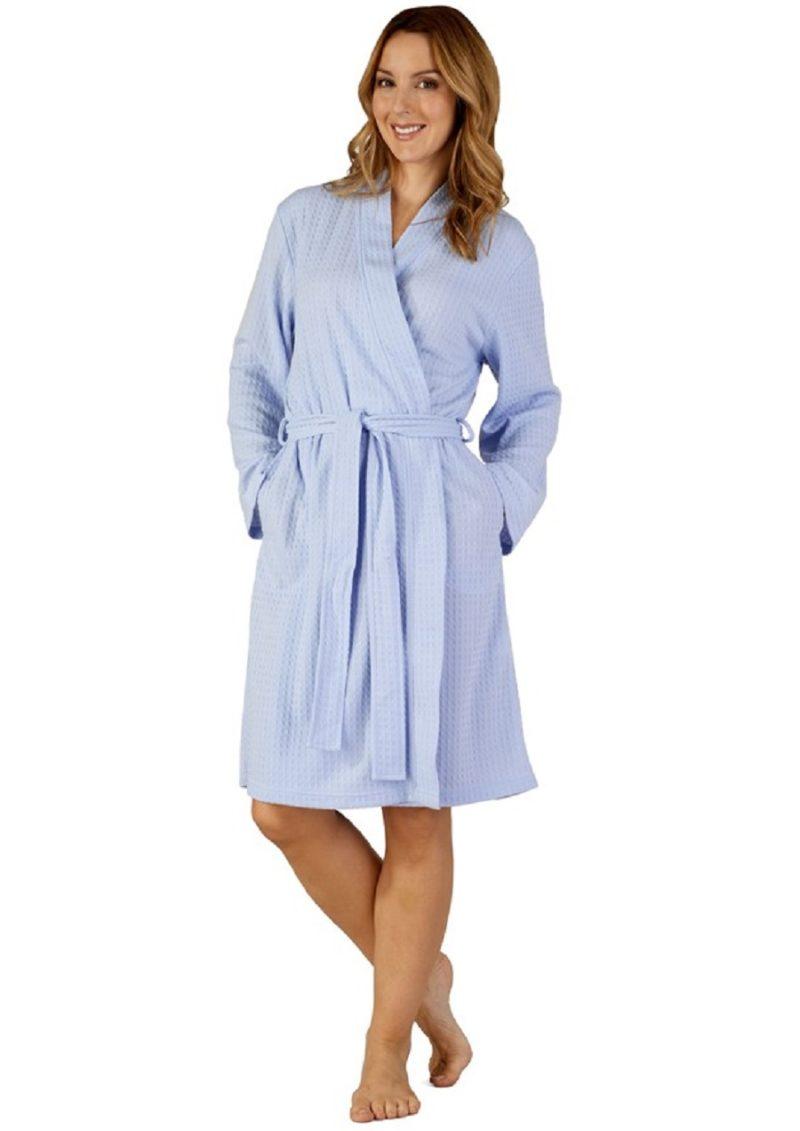 Dressing Gown Blue Waffle Print Slenderella