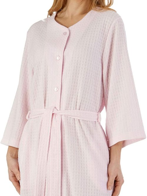 Dressing Gown Button Down Pink Waffle Print
